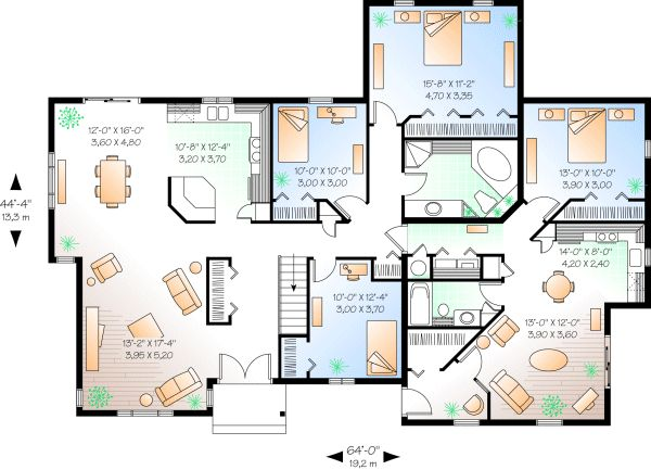 House Plan And Many Other Home Plans Blueprints By Westhome Planners Would Make The Lower Right Space A Gameroom Extra Sleeping