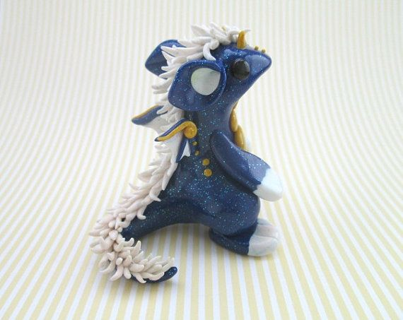 Glitter Blue Dragon With White Mane by KriannaCrafts on Etsy