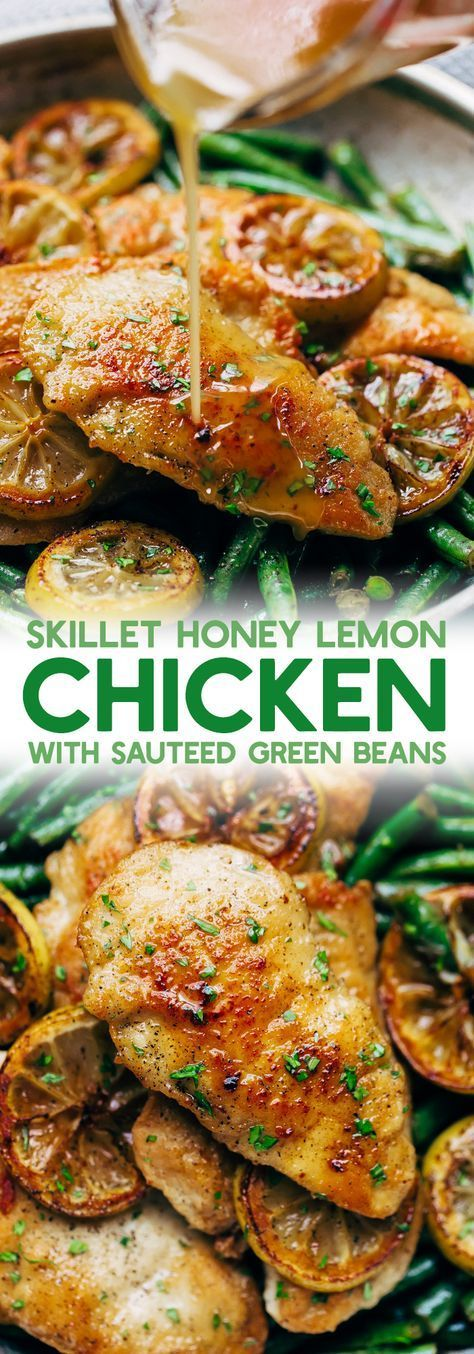 Honey Lemon Chicken with Sautéed Green Beans - simple seared chicken and sautéed green beans drizzled in homemade honey lemon butter sauce. This takes 30 minutes from start to finish and is weeknight friendly! #honeylemonchicken #lemonchicken #chickendinner | Littlespicejar.com