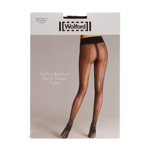 Wolford Individual back-seam tights (1670 TWD) ❤ liked on Polyvore featuring intimates, hosiery, tights, black, sheer hosiery, wolford stockings, opaque pantyhose, opaque stockings and wolford