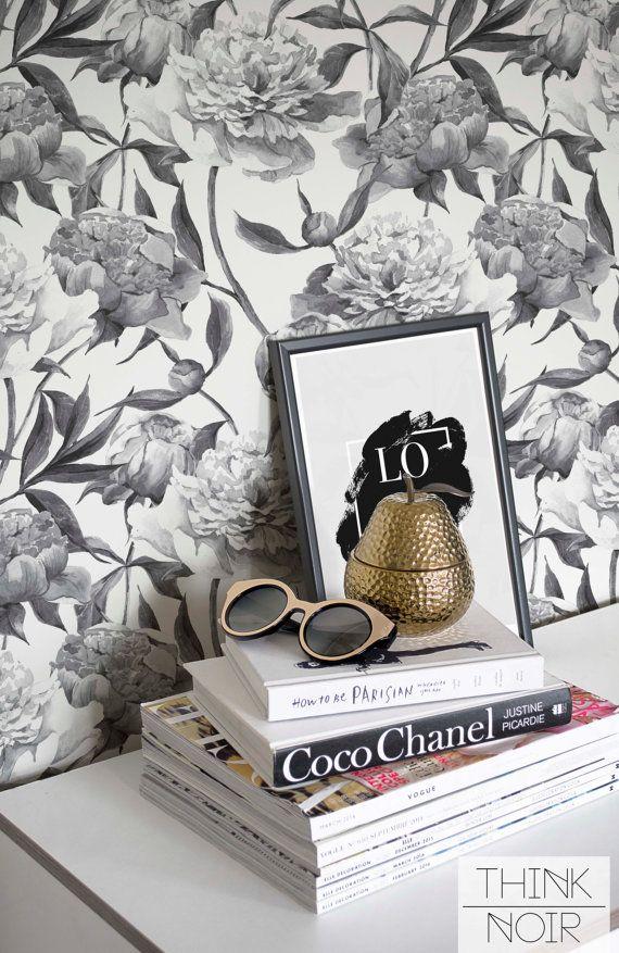 Grey Peony Wallpaper / Self Adhesive Peony Wallpaper / Removable Trendy Wall Mural / Floral Wallpaper