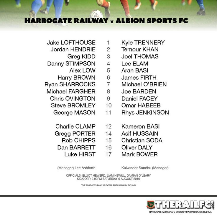 Harrogate Railway v Albion Sports     Team sheet for today's game    @therailfc