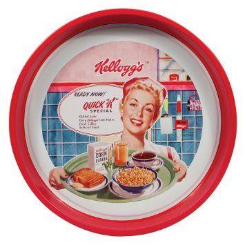 NEW Vintage Retro metal tray Kelloggs, real style, red: Amazon.co.uk: Kitchen & Home