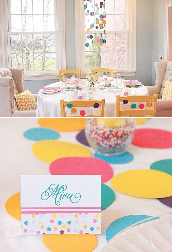 I love all the circles.  We could cut ours from book pages. Sprinkles Themed Sleepover Party {+ Yogurt Bar}