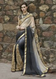 Party Wear Net Grey Embroidered Work Saree