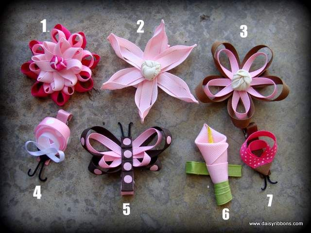 Baby bows: Hairbows, Ribbons Bows, Handmade Hair Bows, Baby Bows, Ribbons Flowers, Daisies Ribbons, Flowers Clip, Hair Clip, Bows Ideas