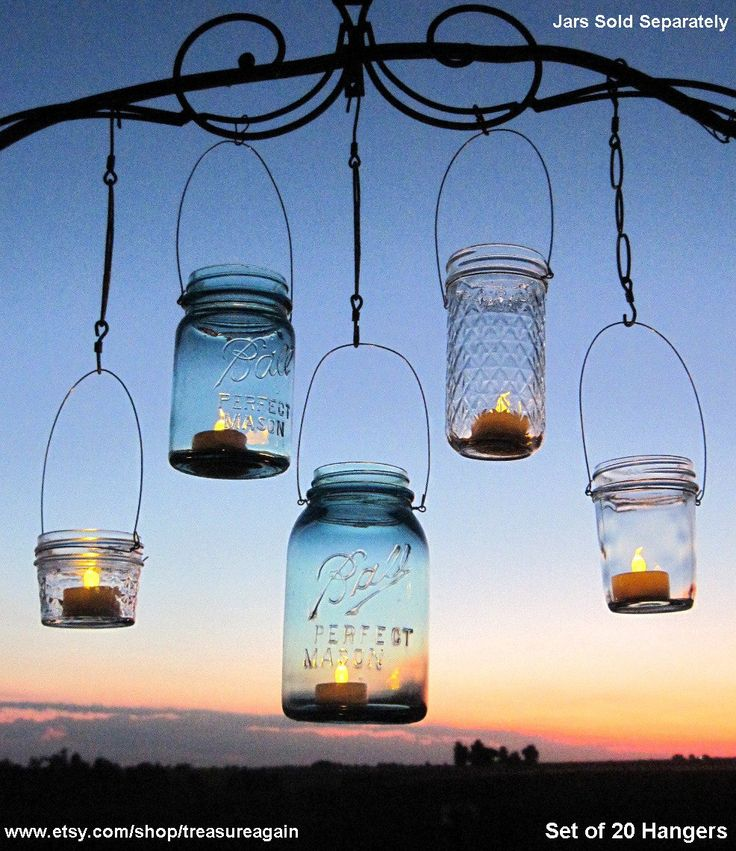 Hanging Lanterns 20 DIY Mason Jar Hangers Outdoor Wedding Mason Jar Candle Holders DIY (No Jars)