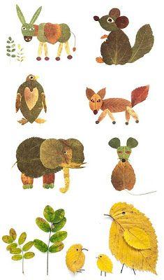 animales creados con hojas otoñales