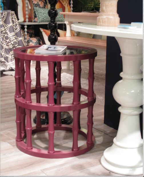 Dunes And Duchess Yachtsman Glass Topped Table In Mulberry With Tiki Style  Spindles.