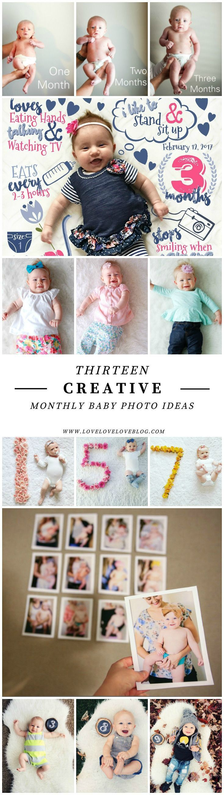 Creative monthly baby photo ideas | DIY Monthly baby photo ideas | Photo ideas for boy | Photo ideas for girl