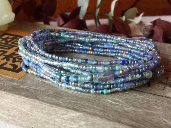 Icicle Crystal and Silver Long Seed Bead Stretch Bracelet Necklace