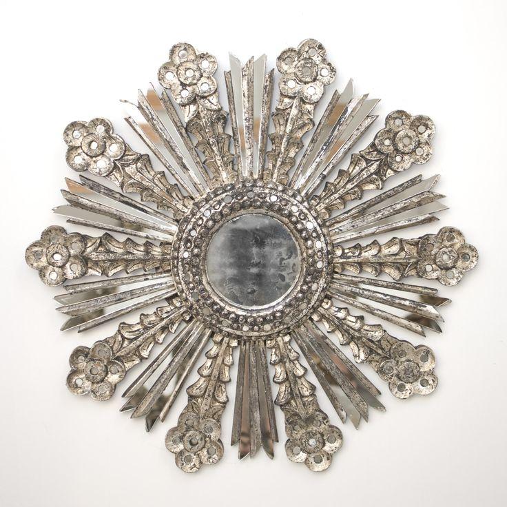 Worlds Away Bella Starburst Mirror In Silver Leaf - Worlds-away-bella-s | Candelabra, Inc.