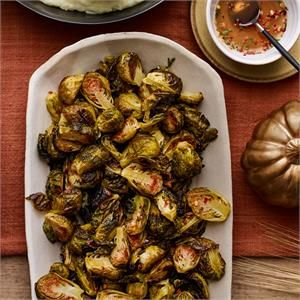 Roasted Brussels Sprouts with Honey-Thyme Glaze Recipe | side dishes | Hannaford   – Yum