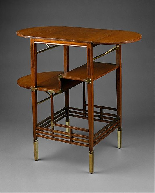 Furniture. This table, designed by Edward William Godwin around 1872, demonstrates the ideals characteristic of the Aesthetic movement in Britain from the 1860s to 1880s. The overall composition of the table, with its attenuated lines and asymmetrical organization of stretchers and posts, creates a rhythm of horizontal and vertical elements that echo Asian as well as traditional English influences.