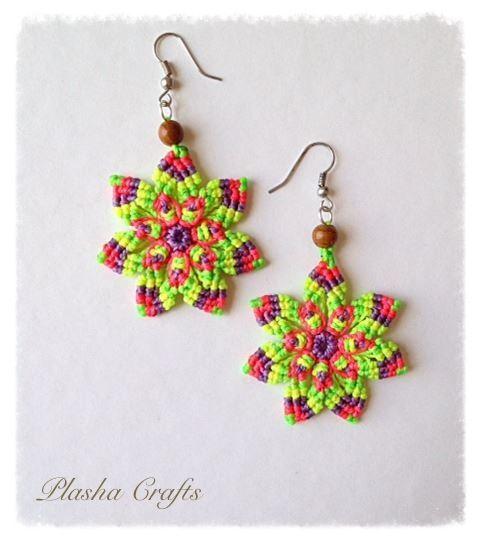 Macrame Earrings Aretes MANDALA de Plasha Crafts