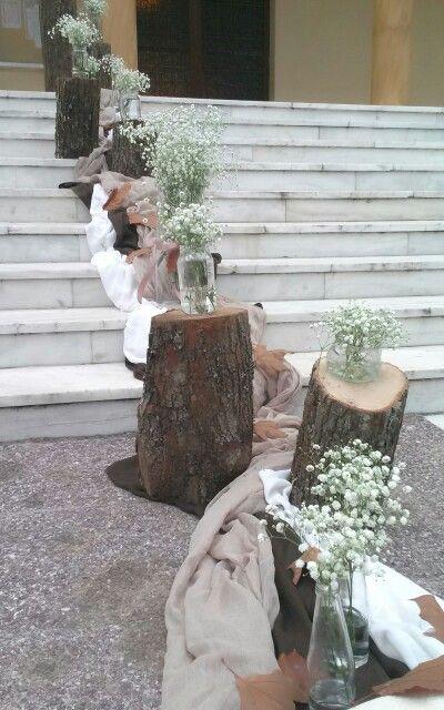 Στολισμος γαμου με κορμους και φυλλα