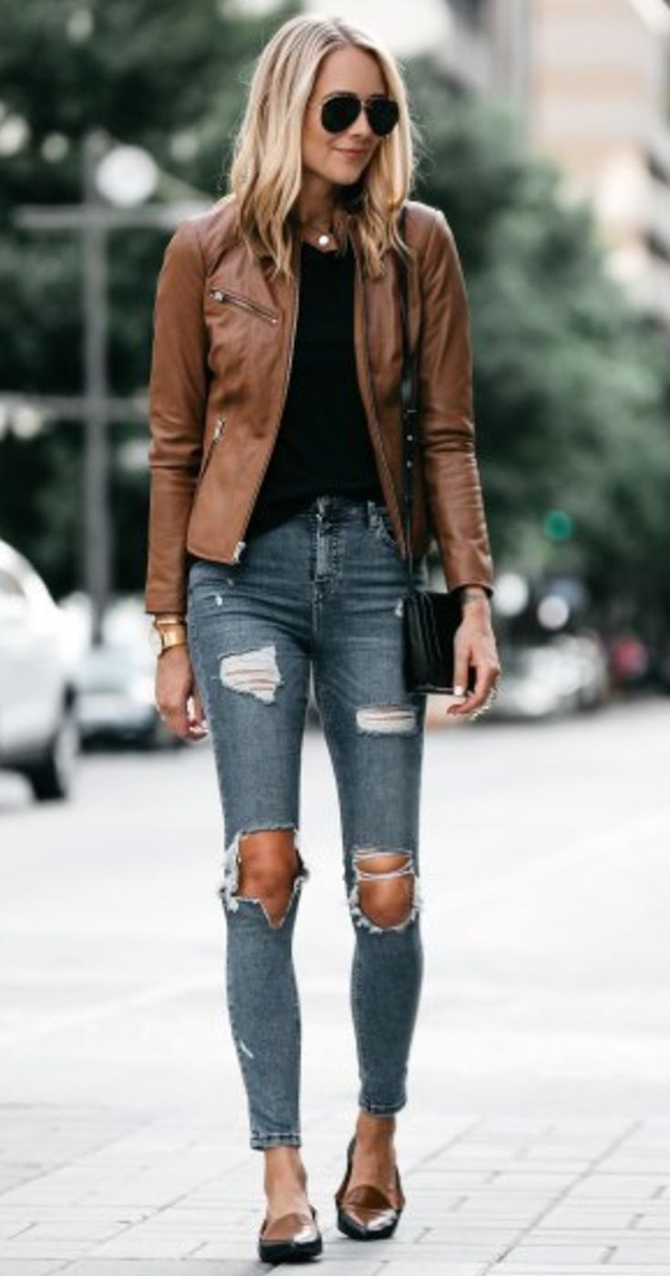 Brown Leather Jacket Fall Outfit With Ripped Jeans Leather Jacket Outfits Leather Jackets Women Best Leather Jackets [ 1400 x 735 Pixel ]