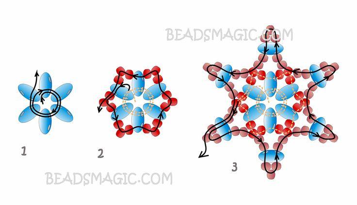 Free pattern for earrings Twin Stars | Beads Magic