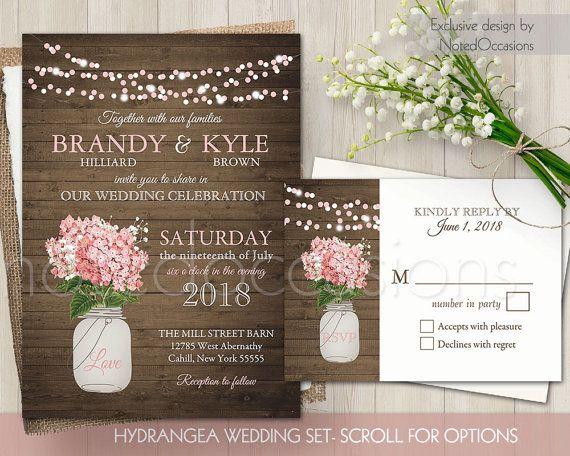 Mason Jar Wedding Invitation, Printable Rustic Wedding Invitations Floral Country  Barn Wood String Lights Blush