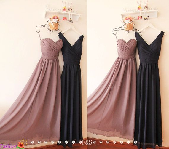 Grey Bridesmaid Dress A-line Strap Long Navy by FashionStreets