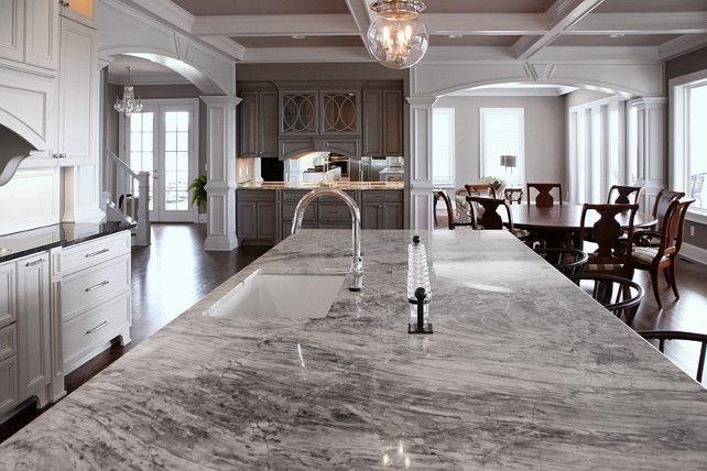 Super White Quartzite. Kitchen Countertop Ideas. #SuperWhiteQuartzite #KitchenCountertopIdeas: