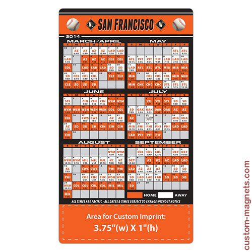 2014 4x7 Custom San Francisco Giants Team Schedule Magnets ...