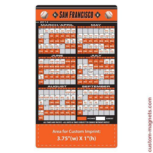 2014 4x7 Custom San Francisco Giants Team Schedule Magnets ...
