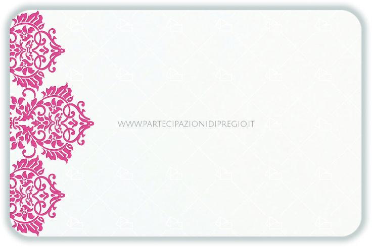 Partecipazioni matrimonio - dimensione: 17 x 11 - forma: Rettangolare angoli arrotondati - carta: Gmund Cotton - Max White - 300, 600, 900 gr. - linea: trama - modello: fregio Andrea laterale corto ver. 1 - lavorazione press: trama