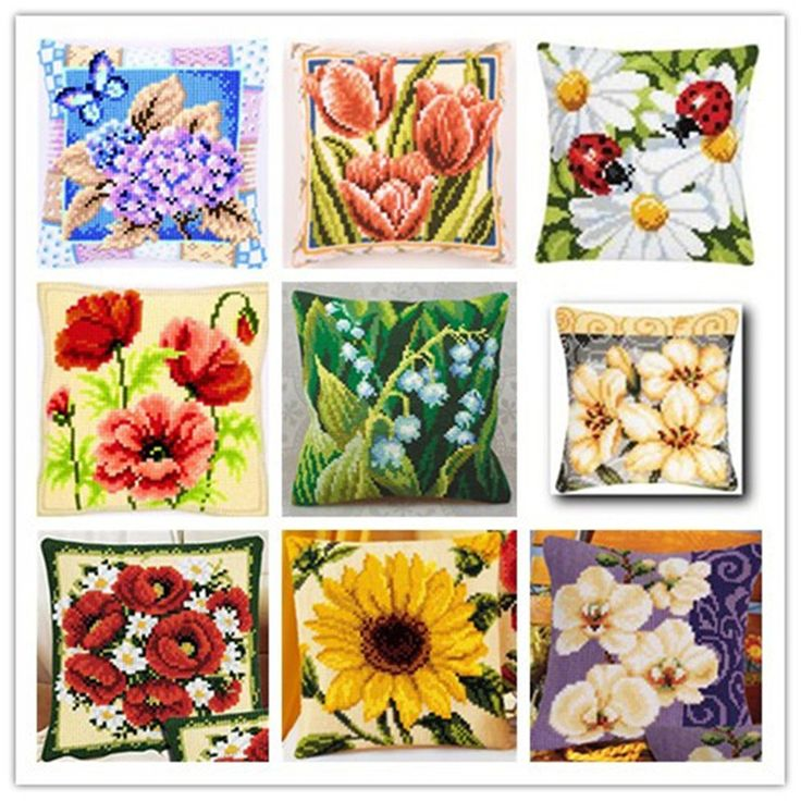 Cross Stitch Pillow Mat DIY Craft Flower 42CM by 42CM Latch Hook Kit  Needlework Crocheting Cushion Embroidery #Affiliate