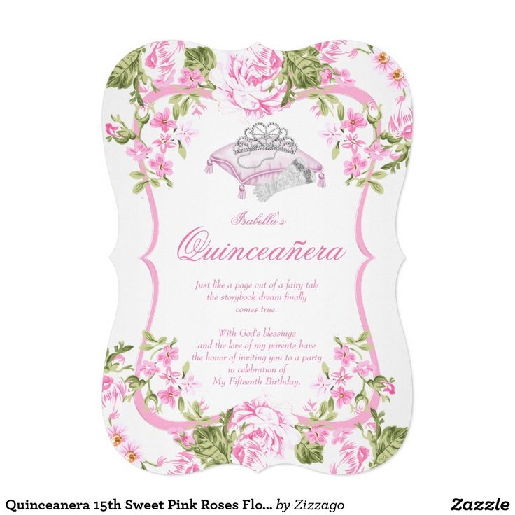 Quinceanera 15th Sweet Pink Roses Flowers 5x7 Paper Invitation Card