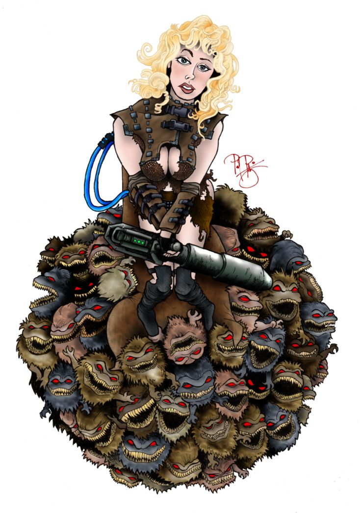 "SCI-FI PIN-UP Art of ""Critters 2: The Main Course"" This is Lee the Bounty Hunter (Roxanne Kernohan), sitting on a large ball of Krites. This is the 6th sci-fi pin-up cartoon I've done and I already..."