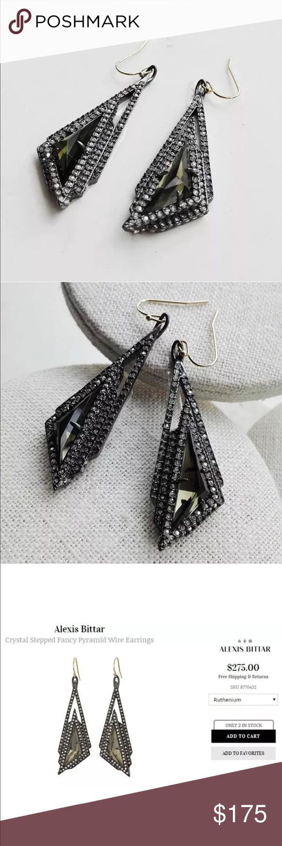 Alexis Bittar Ruthenium Crystal Origami Earrings Alexis Bittar Ruthenium Crystal Origami Earrings • never worn just removed tags and tried on! Beautiful green/grey stone encrusted with tiny crystals in ruthenium (gunmetal gray/silver). Alexis Bittar Jewelry Earrings