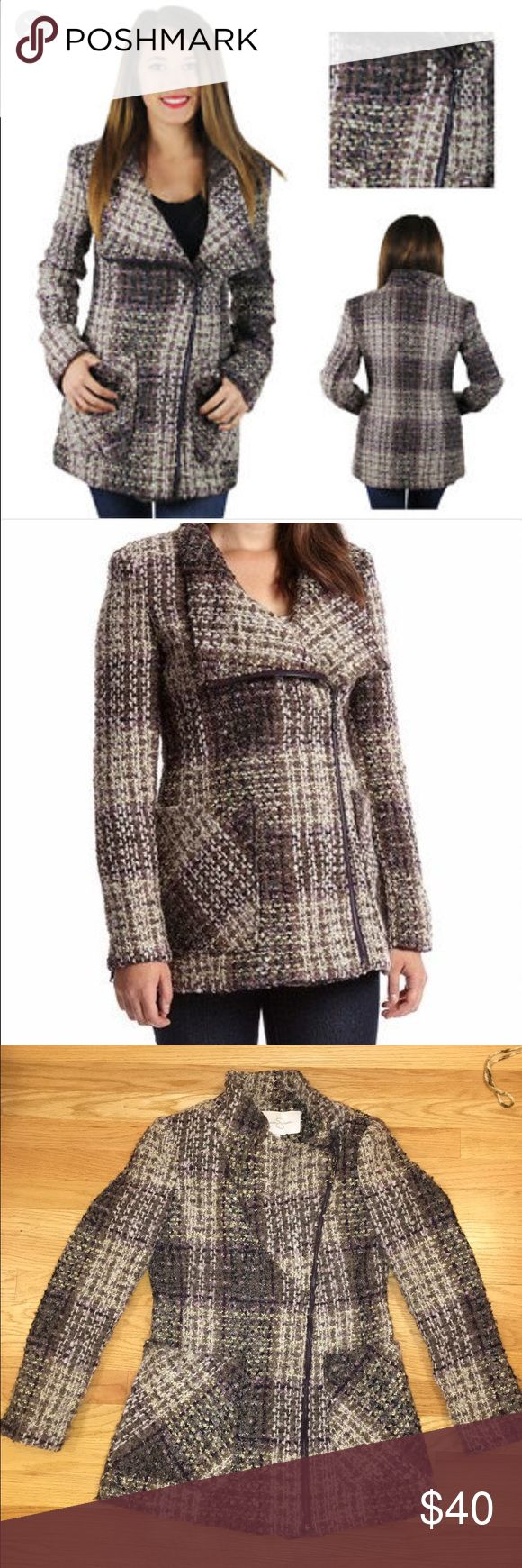 Jessica Simpson wool blend coat tones of lavender This jacket is beautiful from Jessica's collection. It's a wool blend, can be worn two ways. Either fully zipped or zipped with the collar hanging down. Beautiful trendy coat to add to your winter collection! Jessica Simpson Jackets & Coats Pea Coats