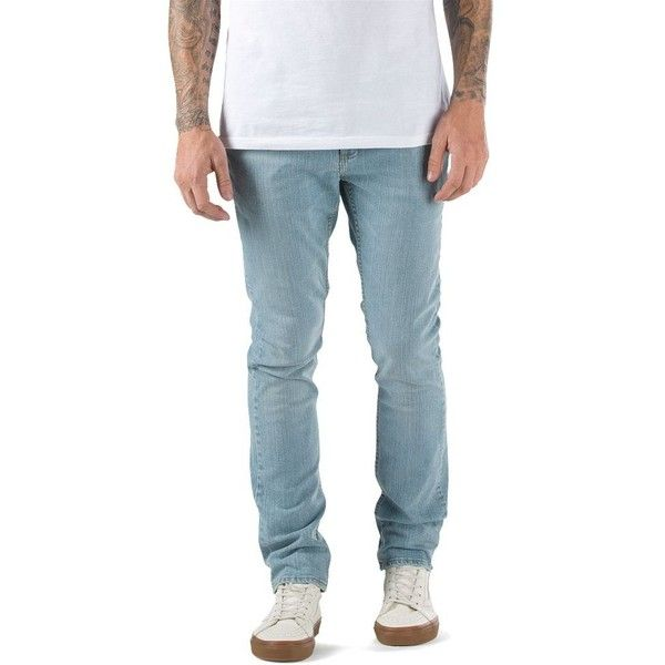 Vans V76 Bleached Indigo Skinny Jean ($60) ❤ liked on Polyvore featuring men's fashion, men's clothing, men's jeans, blue, mens leather jeans, mens leather skinny jeans, mens slim jeans, mens stretch skinny jeans and mens slim fit jeans