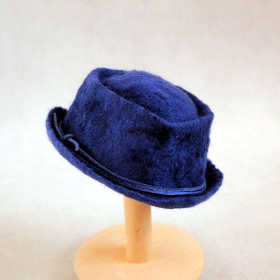 Felted newborn hat blue navy boy cap photo prop top by EsartFelt