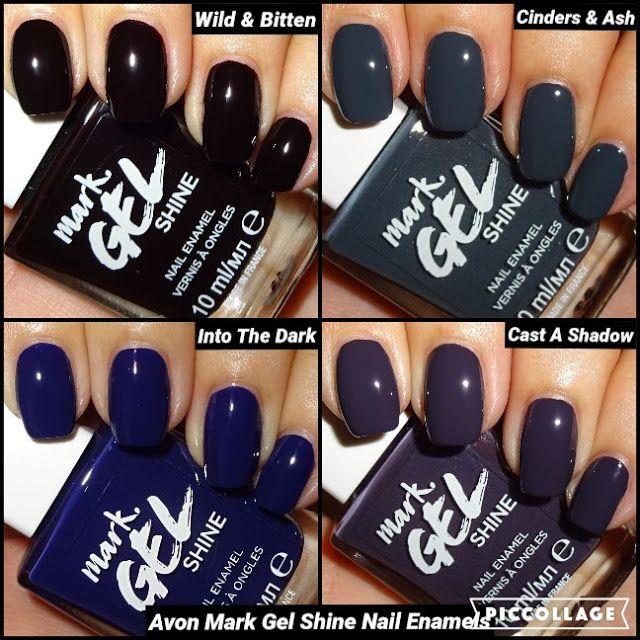 Wendy S Delights Avon Mark Gel Shine Nail Enamels Wild Bitten Cinders Ash Into The Dark Cast A Shadow Shine Nails Avon Nail Polish Avon Nails