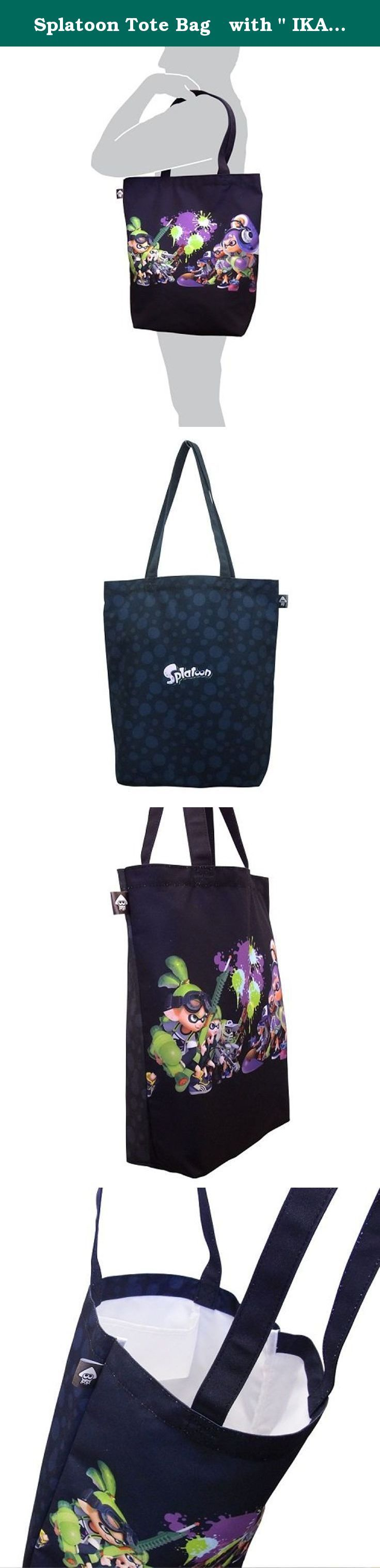 """Splatoon Tote Bag with """" IKASU Can Badges """" Boy & Girl. Wii U exclusive software """"Splatoon"""", a tote bag with IKASU can badge appears! A full print is big impact!, And it can store A4 size. Further, 2 POP cans badges also attached!."""