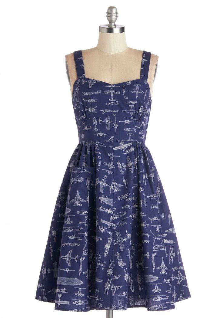 On a Barrel Roll Dress in Navy, #ModCloth Aircraft/airplane dress... Ryan would like this.