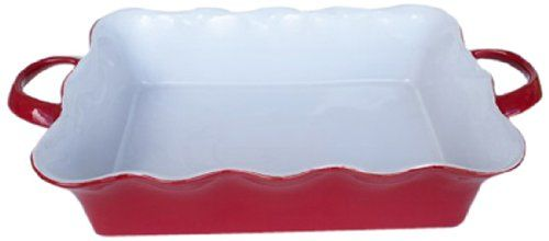 EuroCeramica Wavy Rectangular Baker with Handles Large Red *** You can find more details by visiting the image link.(This is an Amazon affiliate link and I receive a commission for the sales)