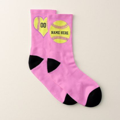 Personalized Softball Socks Change Pink Any Color