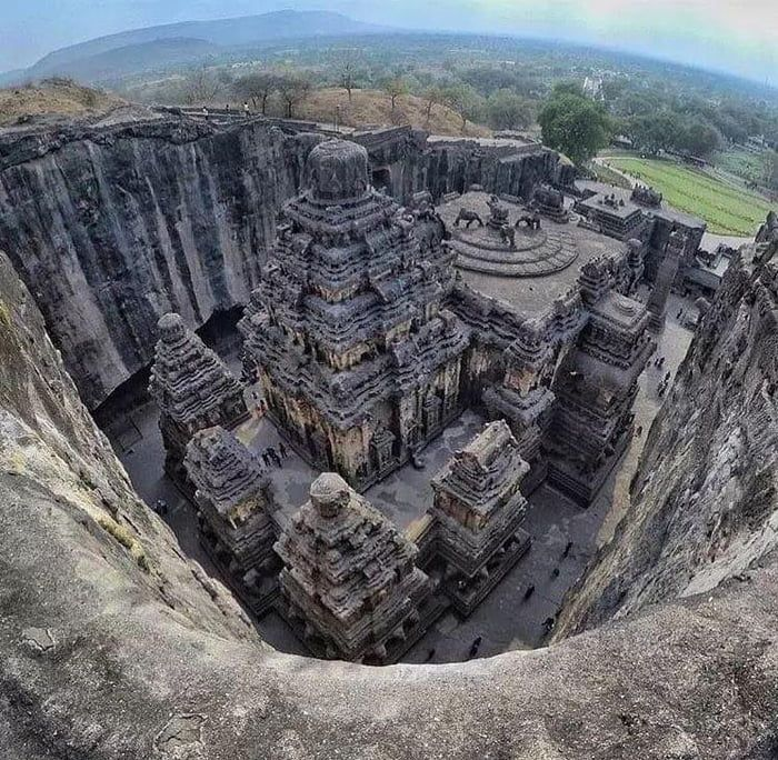 The Kailasa temple was carved out of one single rock. Also known as 'Cave 16' of the Ellora Caves, it is notable for being the largest monolithic structure in the world carved out of a single piece of rock. India.