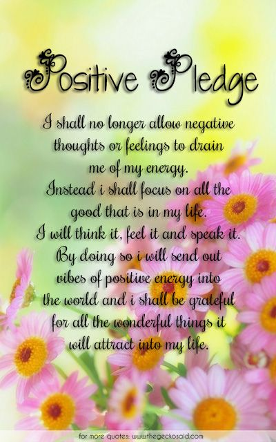Positive Pledge...  #attract #drain #energy #feel #feelings #focus #good #grateful #life #negative #pledge #positive #quotes #shall #speak #think #thoughts #vibes #wonderful  ©2016 The Gecko Said – Beautiful Quotes