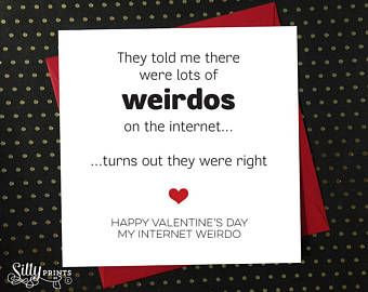 FUNNY VALENTINE'S DAY card - Lots of weirdos on internet, online dating tinder match eharmony swipe right cute from wife husband #ad #oybpinners