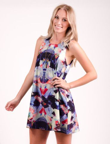 Karangahape dress from www.belleroad.co.nz Mirrored kaleidoscope digital printed sleeveless dress
