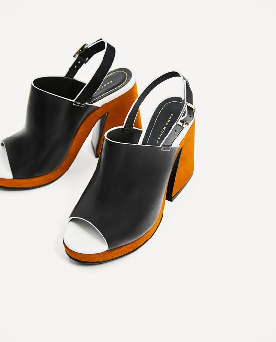 Image 4 of LEATHER PLATFORM SANDALS from Zara