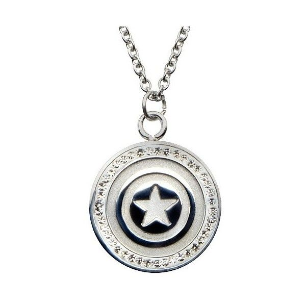 Women's Marvel Captain America Shield Logo Stainless Steel Pendant... (£39) ❤ liked on Polyvore featuring jewelry, pendants, stainless steel, stainless steel jewellery, marvel jewelry, clear jewelry, cz pendant and cubic zirconia pendant