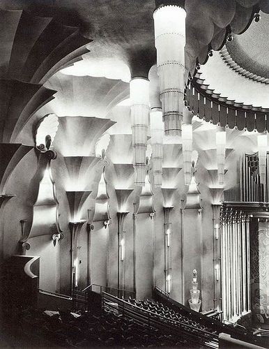 Ernest Wamsley Lewis, detail of the circle lighting. New Victoria  Theatre, London, 1930. - Alice?