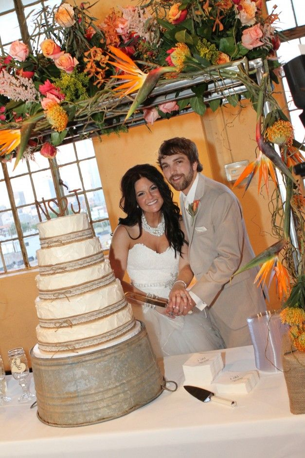 Charming Country Chic Wedding,,,,, I would add some bling to the wash tub and a little something else to the cake.