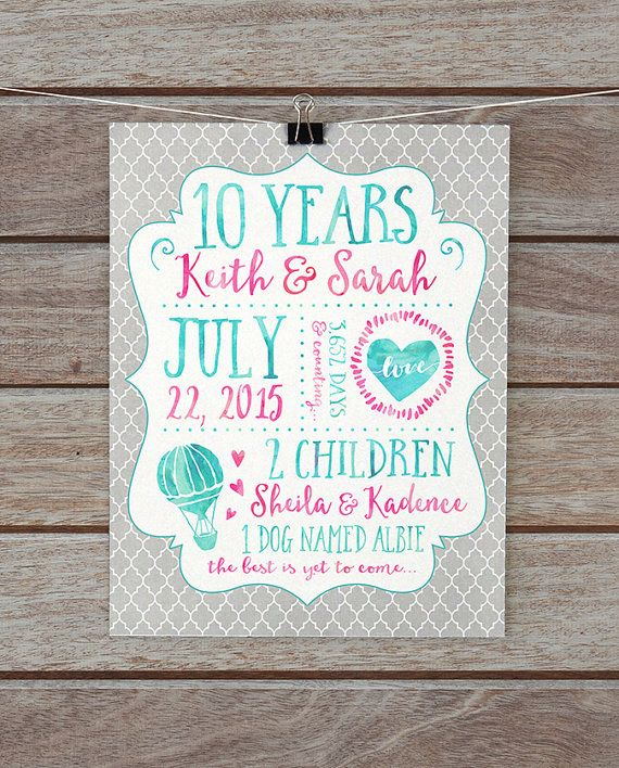10 Year Anniversary Gifts, Tenth Anniversary Paper Gift, 1 Year, Custom Print, Husband, Wedding Anniversary, Gift for Wife, Beach Sign