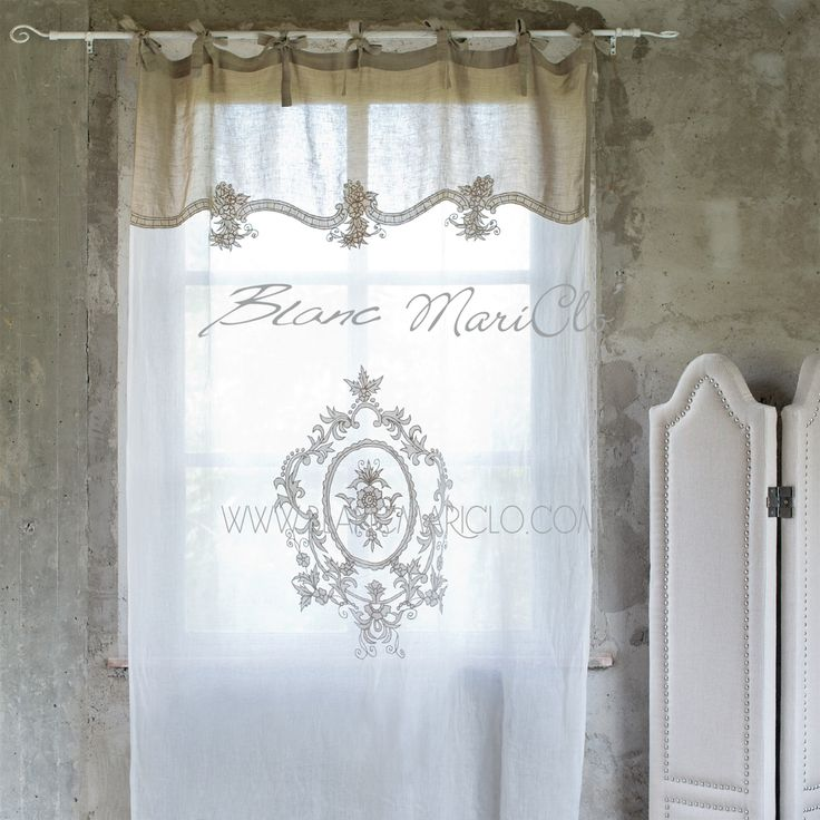 """Tenda panna e beige """"Vintage"""" Blanc Mariclò. 50% lino - 50% cotone - Prodotto artigianale. Dimensioni: 140x300 cm."""